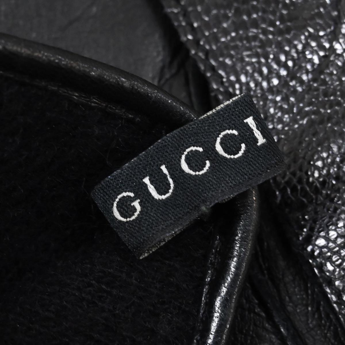 本物 超美品 グッチ 極希少 希少革 エキゾチックオーストレッグレザー グローブ メンズ8 ブラック 裏カシミヤ100% 紳士用 皮手袋 GUCCI_画像4