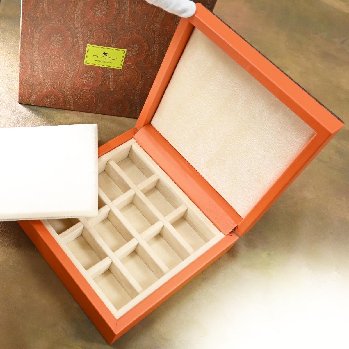 本物 新品 エトロ 極希少 4×3 ペガソプレート ペイズリー ジュエリーボックス 宝石箱 アクセサリーケース キャリングバッグ 保存箱付 ETRO_画像6