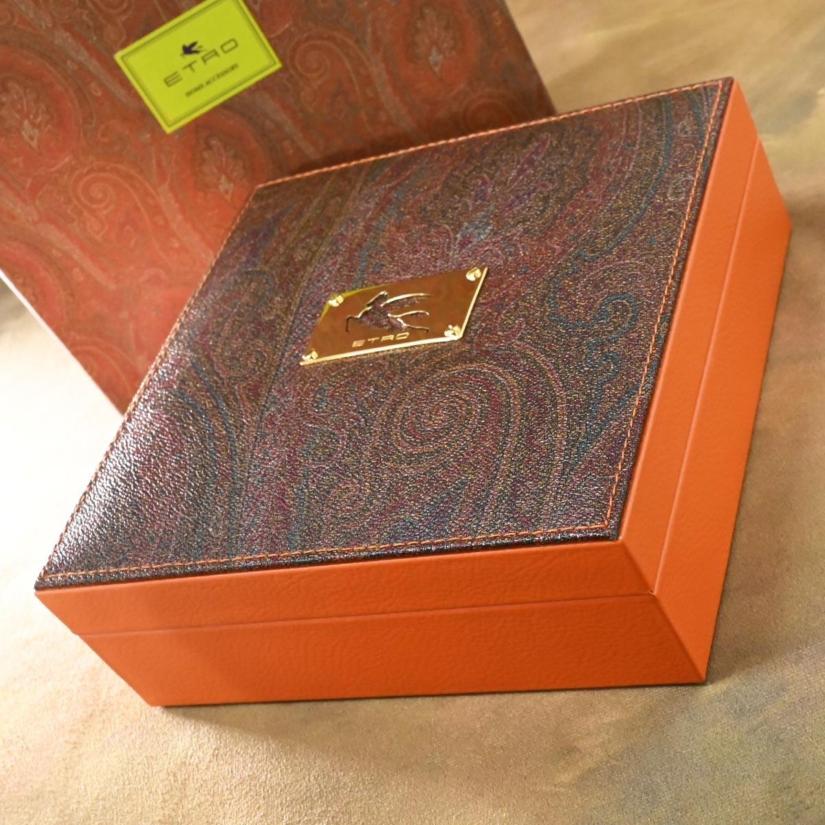 本物 新品 エトロ 極希少 4×3 ペガソプレート ペイズリー ジュエリーボックス 宝石箱 アクセサリーケース キャリングバッグ 保存箱付 ETRO_画像3