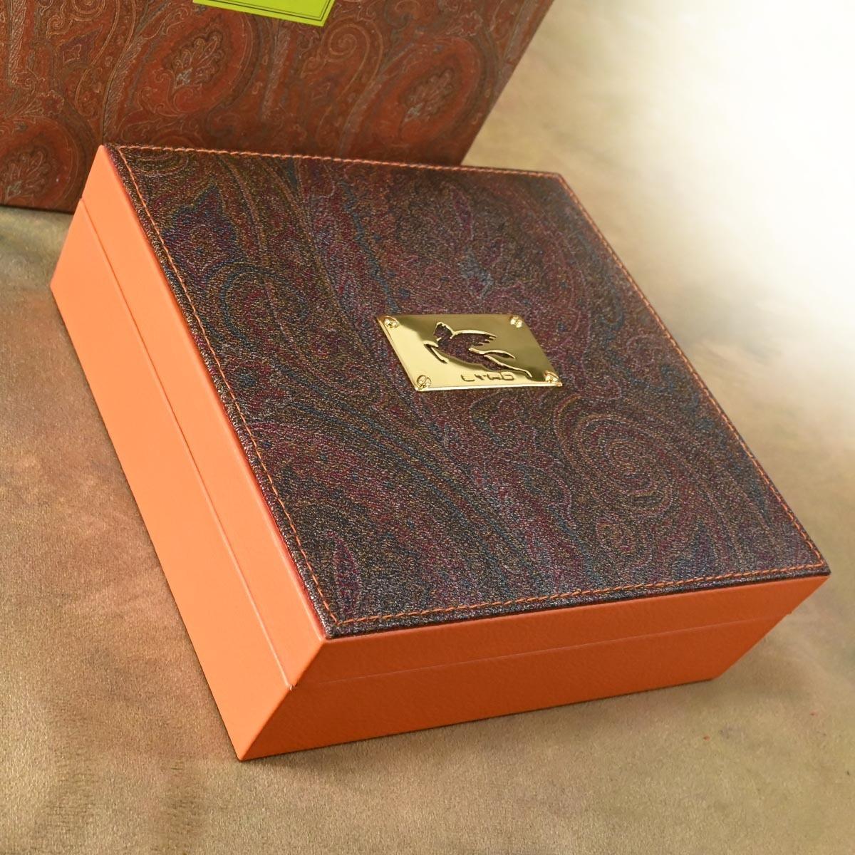本物 新品 エトロ 極希少 4×3 ペガソプレート ペイズリー ジュエリーボックス 宝石箱 アクセサリーケース キャリングバッグ 保存箱付 ETRO_画像2