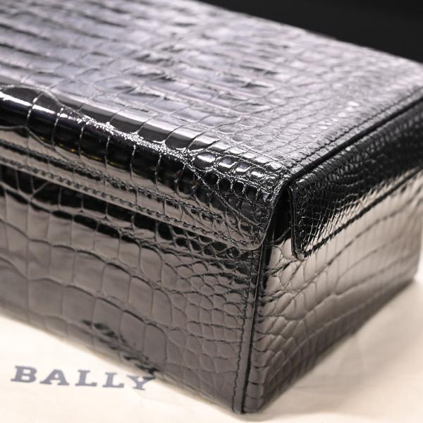 本物 極上品 バリー 最高級リアルクロコダイルレザー鍵付きスクエアバニティバッグ ブラック 2WAYクロコショルダーバッグ 保存袋付 BALLY_画像7