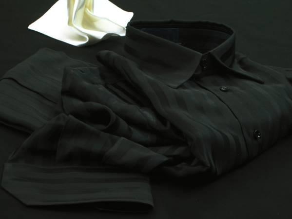 ★イタリアシャツ DANROMA シルクシャツ黒 JACQUARD NERA M_画像2