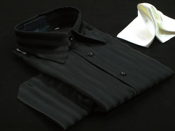 ★イタリアシャツ DANROMA シルクシャツ黒 JACQUARD NERA M_画像3
