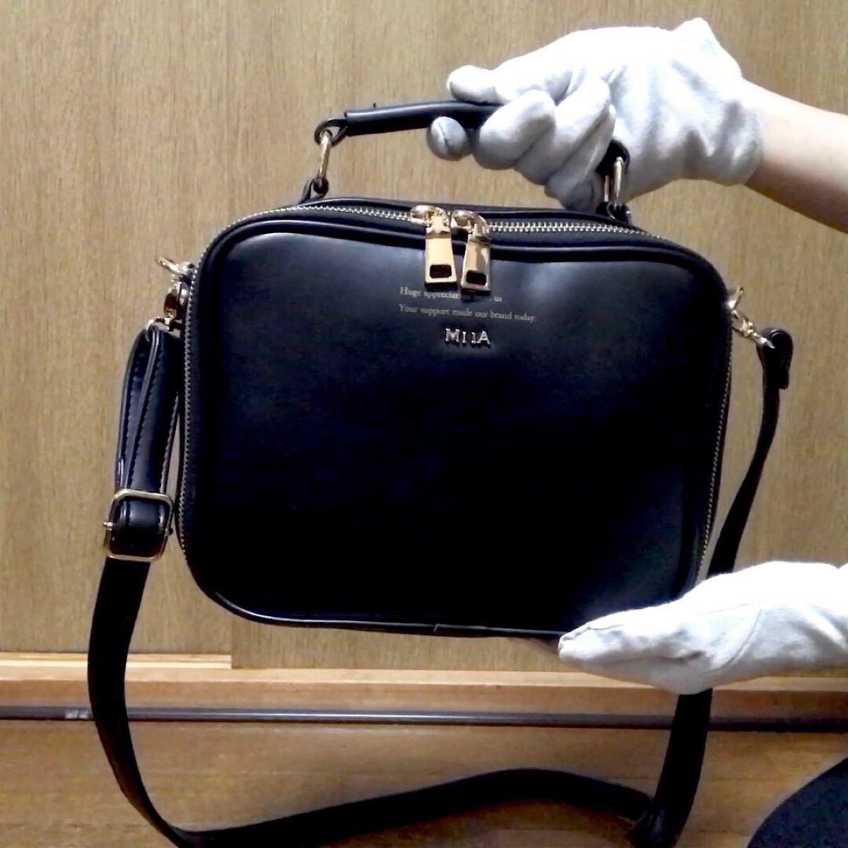 未使用 MIIA ボックス バッグ/ミーア 黒 ブラック ゴールド 鞄 ハンドバッグ ショルダーバッグ 2way スムース調