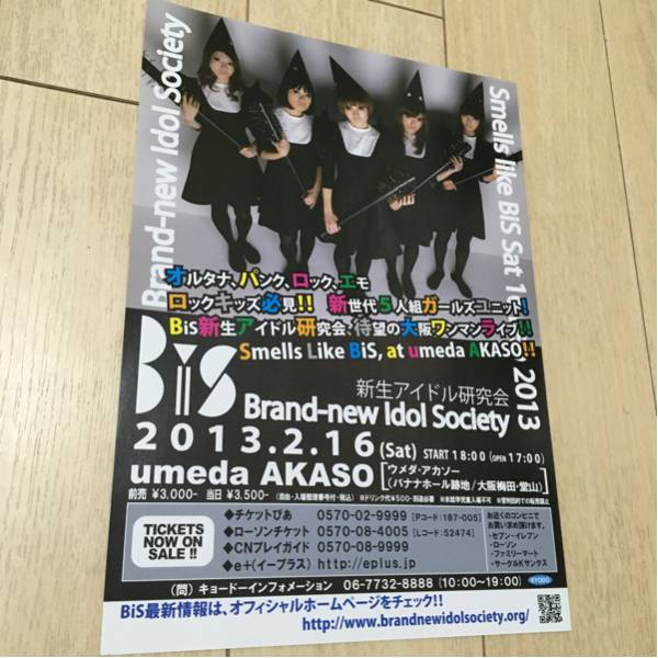 ビス bis 新生アイドル研究会 ライヴ 告知 チラシ 2013 大阪