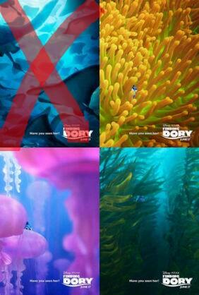 ファインディングドリー 布 ポスター 三枚セット 魚 ディズニー ディズニーグッズの画像
