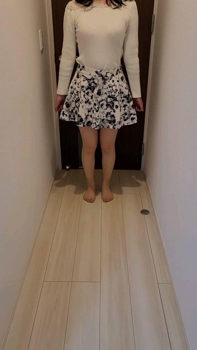 【salire】 ミニスカート 花柄 白×黒