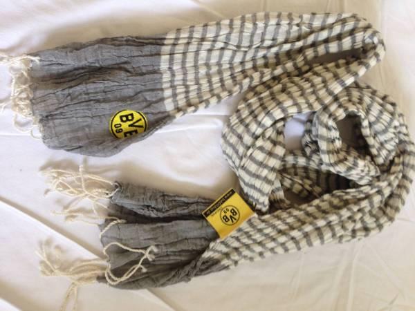 BVB ドルトムント ボーダー柄ロゴマフラー 綿麻スカーフ 香川 グッズの画像