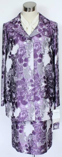 新品10.5万 ラピーヌ 百貨店品 結婚式 セットアップ パーティー スーツ レディース 9号 紫 パープル ジャガード ロングジャケット スカート