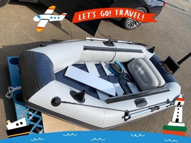 「ゴムボート 釣りボート PVC製 モーターマウント付 リペアキット 収納袋付 2人乗り スラットフロア  船外機3馬力まで対応 」の画像1