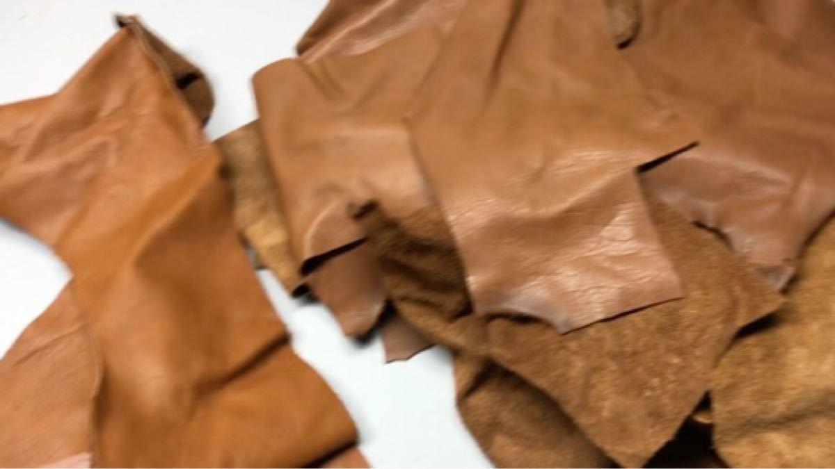 送料無料 レザークラフト 牛革 ハギレ 60サイズ箱 ハンドメイド  茶色系 工業用ミシン ブラウン