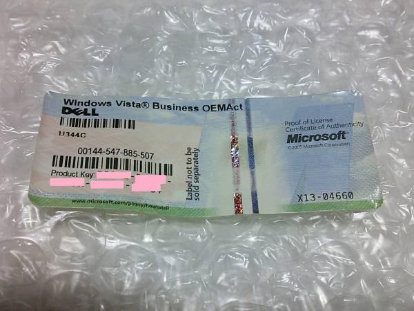 ◇Windows vista Business OEMAct DELL プロダクトキー 現物シール◆PC整備・動作確認済み