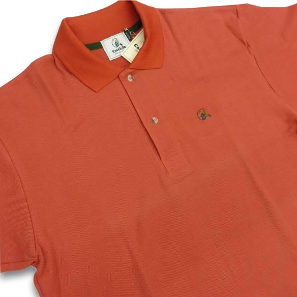 90◆新品!展示品!アウトレット!レナウン CATCH ON 半袖鹿の子ポロシャツ Mサイズ オレンジ色 カノコ編み 綿100% コットン100%_部屋着 作業着としてもいかがでしょうか?