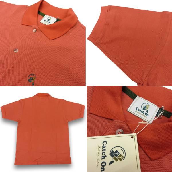 90◆新品!展示品!アウトレット!レナウン CATCH ON 半袖鹿の子ポロシャツ Mサイズ オレンジ色 カノコ編み 綿100% コットン100%_RENOWN CATCH ON コットンポロシャツ