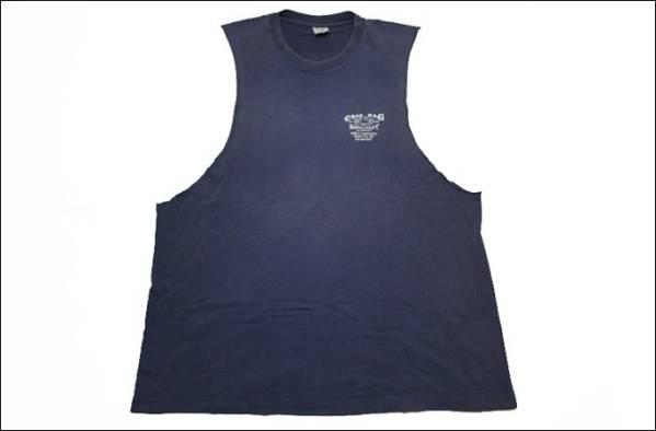 【XL】 FRUIT OF THE LOOM カットオフ Tシャツ USA製 タンクトップ 紺 リメイク プリント ビンテージ ヴィンテージ 古着 オールド IA24_画像1