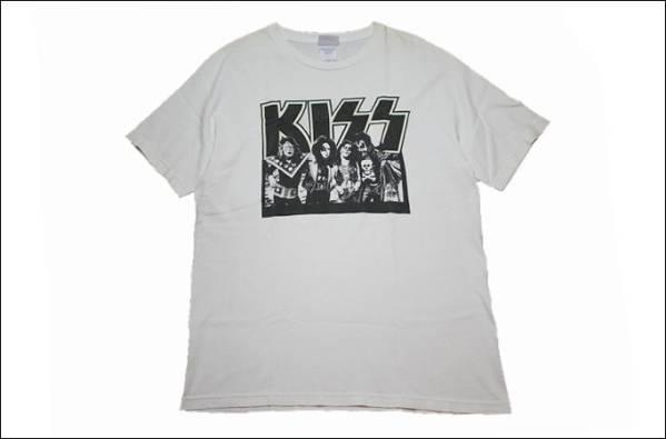 KISS キッス ロック Tシャツ バンド USA製 古着 白 【L】 IB709 ライブグッズの画像
