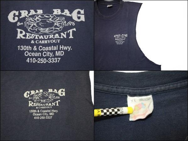 【XL】 FRUIT OF THE LOOM カットオフ Tシャツ USA製 タンクトップ 紺 リメイク プリント ビンテージ ヴィンテージ 古着 オールド IA24_画像3