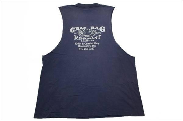 【XL】 FRUIT OF THE LOOM カットオフ Tシャツ USA製 タンクトップ 紺 リメイク プリント ビンテージ ヴィンテージ 古着 オールド IA24_画像2