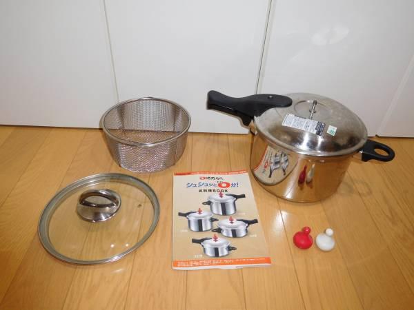 アサヒ軽金属◆ゼロ活力なべ(5.5L)ガラス蓋とステンレス蒸し器付_画像1