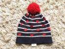 新品*baby Gap*子供用ボーダー×ハート柄ニット帽48-50cm紺*帽子