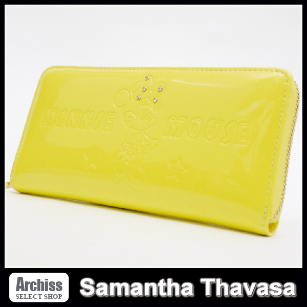 0767e3041803 代購代標第一品牌- 樂淘letao - サマンサタバサSamantha Thavasa 黄色イエロー ディスニーコレクションプチチョイスミニーエナメルラウンド長財布S42101