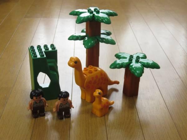 レゴ デュプロ ダイナソーセット 恐竜 原始人 ヤシの木 フィグ 特殊パーツ レア_画像1