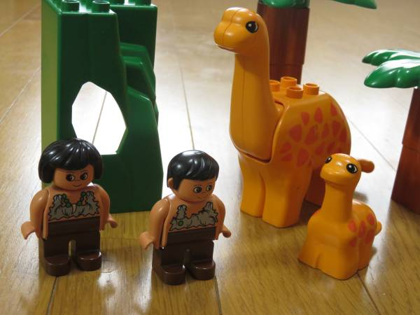 レゴ デュプロ ダイナソーセット 恐竜 原始人 ヤシの木 フィグ 特殊パーツ レア_画像2
