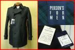 ★未使用!PERSON'S FOR MEN★ブラック/ハーフトレンチコート M ◆