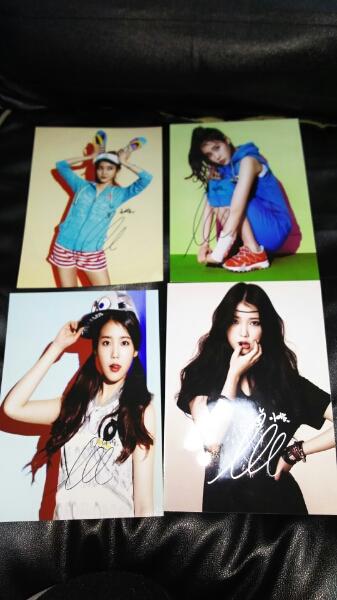 韓国 歌手 IU アイユー 直筆サイン写真 2L版 4枚 送料込