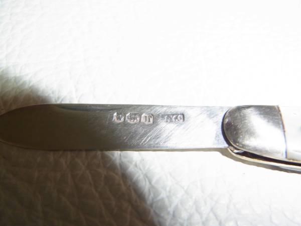 ■美品 1800年頃 英国製■シェフィールド 白蝶貝 ブレード純銀 フルーツナイフ