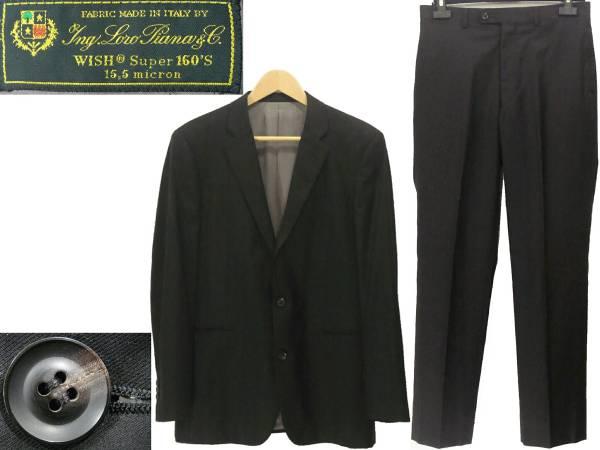ロロ・ピアーナ 2つ釦スーツ 黒 ブラック 2Bシングル スーパー160'S Yng.Loro Piana & co 高級オーダースーツ WISH Super 160'S メンズ_画像1