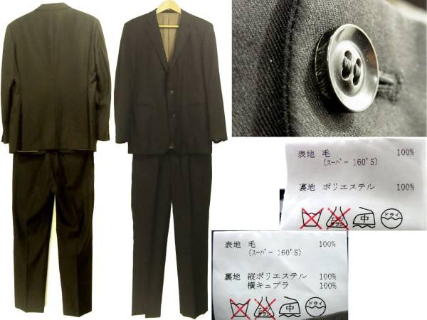ロロ・ピアーナ 2つ釦スーツ 黒 ブラック 2Bシングル スーパー160'S Yng.Loro Piana & co 高級オーダースーツ WISH Super 160'S メンズ_画像2
