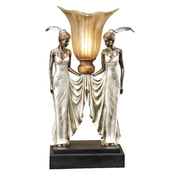 アールデコ調 ピーコック風 乙女イルミネーション 照明彫刻(彫像)/ Art Deco Peacock Maidens Illuminated Statue【輸入品_画像2