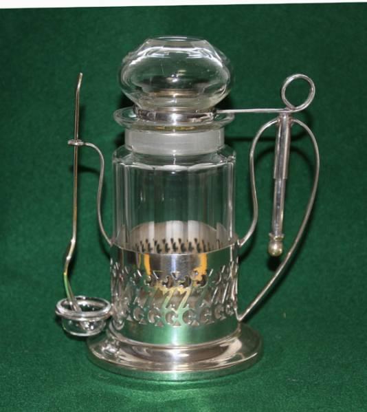 銀製 スタンド付き ガラス ピクルスジャー/ポット ピクルスフォーク付 英国製  アンティーク_画像1