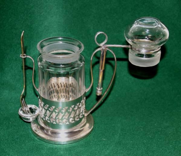 銀製 スタンド付き ガラス ピクルスジャー/ポット ピクルスフォーク付 英国製  アンティーク_画像2