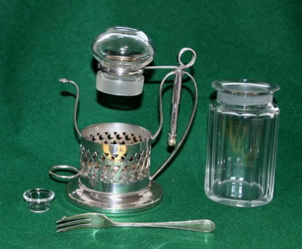 銀製 スタンド付き ガラス ピクルスジャー/ポット ピクルスフォーク付 英国製  アンティーク_画像3