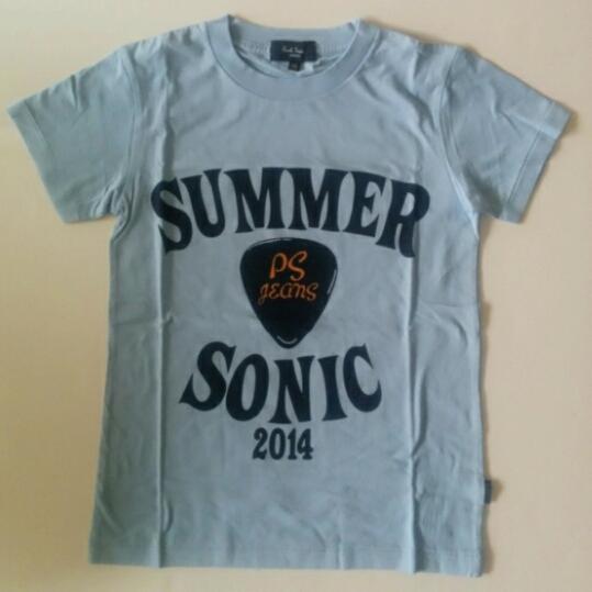 レア◎サマーソニック2014 スタッフTシャツ ポールスミス サマソニ SUMMER SONIC 水色 紺 ギターピック XS レディース ライブグッズの画像