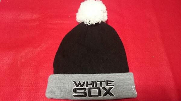 【新品】MLB ホワイトソックス ニット帽 黒×グレー グッズの画像