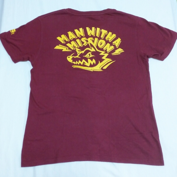 MAN WITH A MISSION 初期ロゴ Tシャツ バーガンディ マンウィズ MWAM グッズ