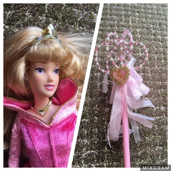 ディズニー オーロラ姫 ドール 人形& コスプレ グッズ 子供用 ワンド 杖 2点セット ディズニーグッズの画像