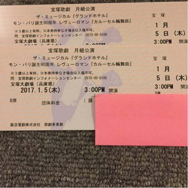 宝塚歌劇月組公演1月5日(木)3:00PM 開演 送料込ペア