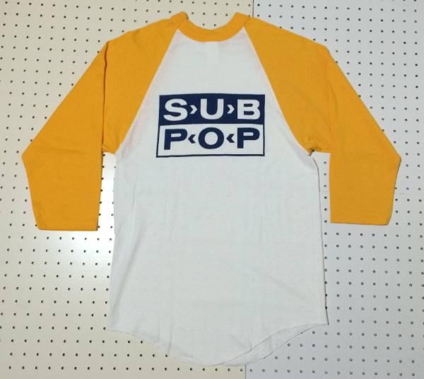 [デッドストック 希少 90s USA製]SUB POP BASEBALL TEE ベースボール Tシャツ S