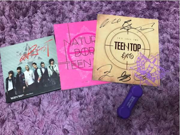 【美品】TEENTOP サイン入りCDとライヴグッズをセットで ライブグッズの画像