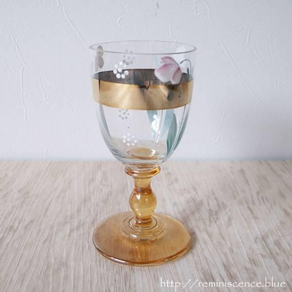 【可憐なボヘミアングラス】 アンティーク チェコ ボヘミア ワイングラス 花 手描き ◆Antique Bohemian Wine Glass with Fritillaria ◆