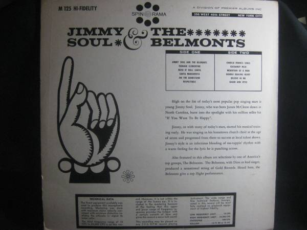 JIMMY SOUL AND THE BELMONTS / WITH CHARLIE FRANCIS◆V912_画像2