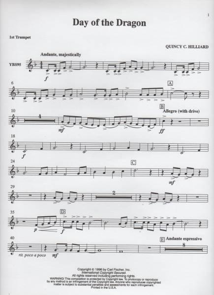 吹奏楽楽譜/Q.ヒリアード:デイ オブ ザ ドラゴン/CD付/試聴/絶版_画像3