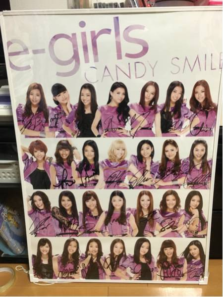 E-girls CANDY SMILE 直筆サイン入りポスター 美品 鷲尾萩花夏恋 ライブグッズの画像