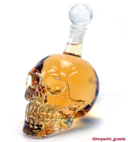 ドクロ クリスタル スカル ヘッド ボトル ウイスキー デカンタ 髑髏 グラス 送料無料 6_画像1