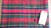 即決!ラルフローレン コットンブランケット 赤チェックひざ掛け 綿毛布 ベビーカー