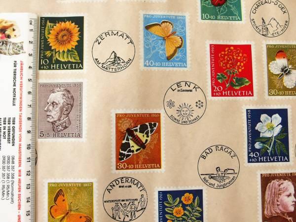 スイス製 ヴィンテージ&レトロ ワックスペーパー,包装紙 (スイスの切手)_スイスで見つけたヴィンテージ品です。